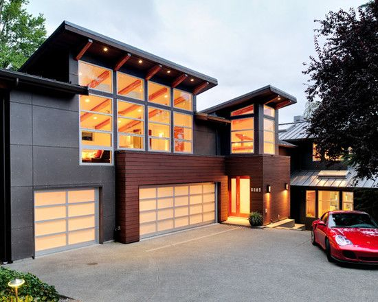 Contemporary With Attached 3 Car Garage House Exterior In Law