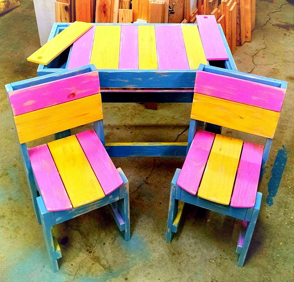 Diy pallet sofa with table 99 pallets - Bar Furniture Diy Colorful Pallet Furniture For Kids 99 Pallets