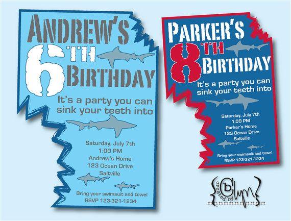 another shark bite shark party invitation celebrate the kids