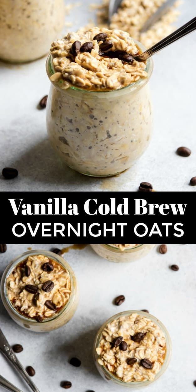 Coffee and breakfast all in one? These Vanilla Cold Brew Overnight Oats are the perfect breakfast combination! This recipe is simple, healthy and so delicious--all the fuel you need to start the day! #ad #coffee #overnightoats #caffeine #breakfastrecipe #overnightoatmeal #coldbrew