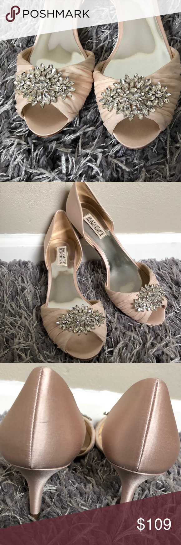 bd5324ffb7 Badgley Mischka Evening Shoe Sabine by Badgley Mischka. Glamorous satin  heel perfectly poised to add an elegant accent to your ensemble.