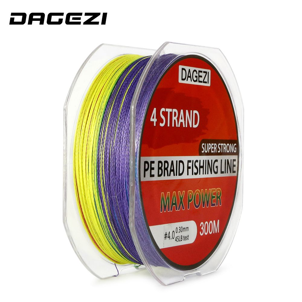 DAGEZI Super Strong 4 strand 300M 100% PE Braided Fishing Line 10 ...