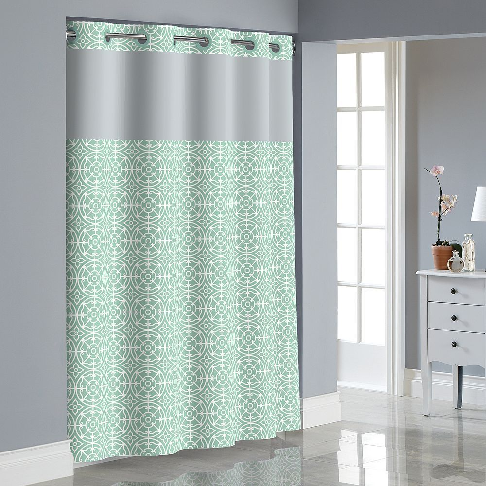 Hookless Medallion Shower Curtain With Liner Curtains Hookless Shower Curtain Yellow Bathrooms