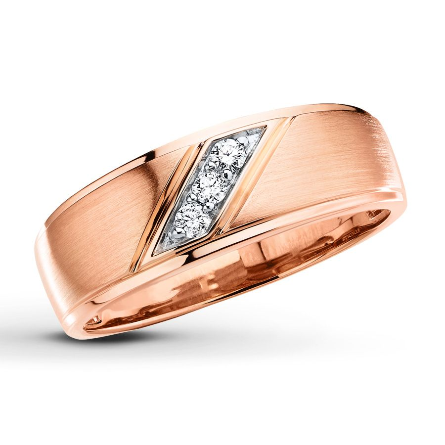 Mens Wedding Band 110 ct tw Diamonds 10K Rose Gold Wedding rings