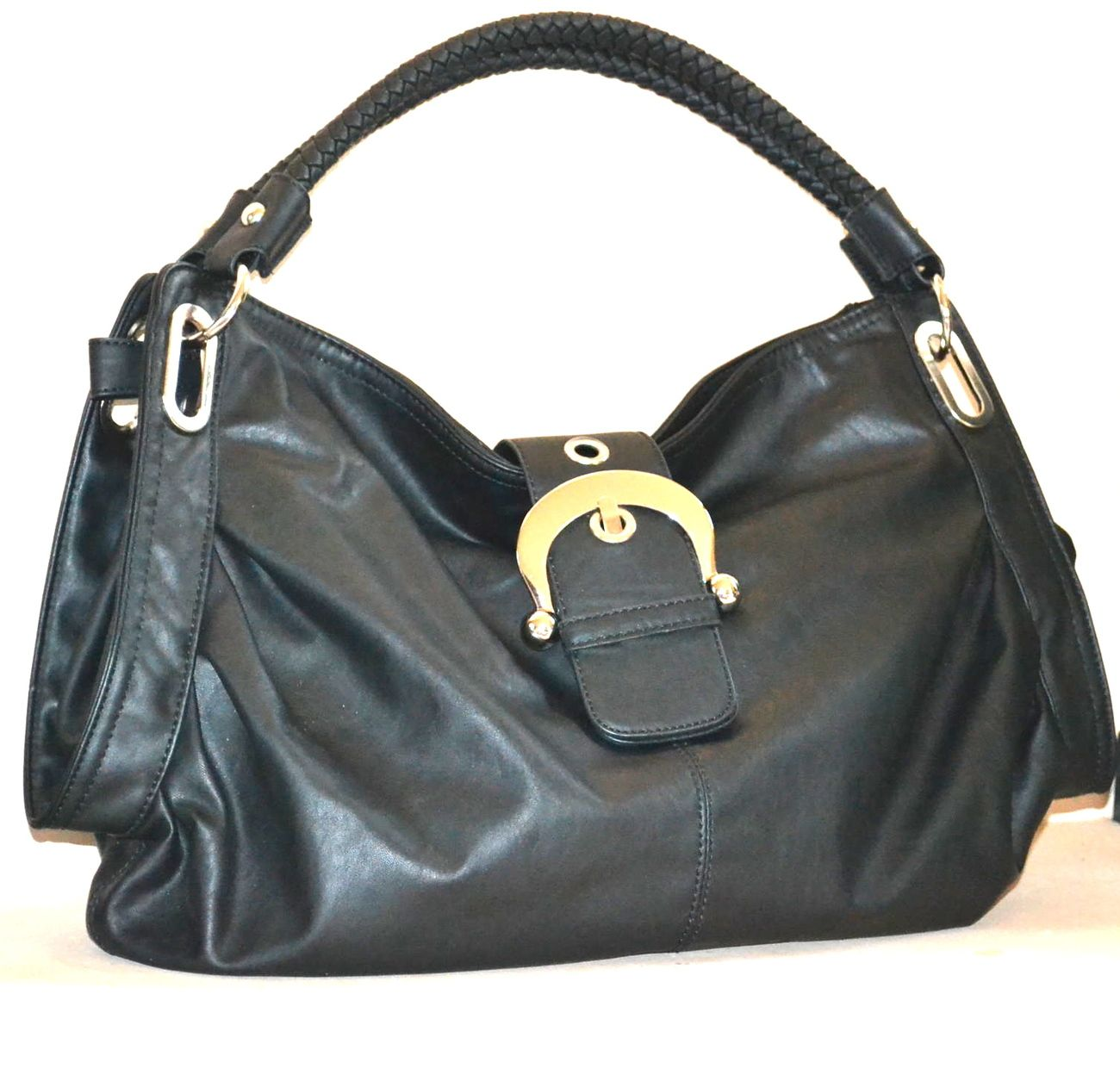 NEW ShoeDazzle Hobo Bag Vegan Black AUCKLAND Style :: Great Casual Purse Large Shoulder Bag