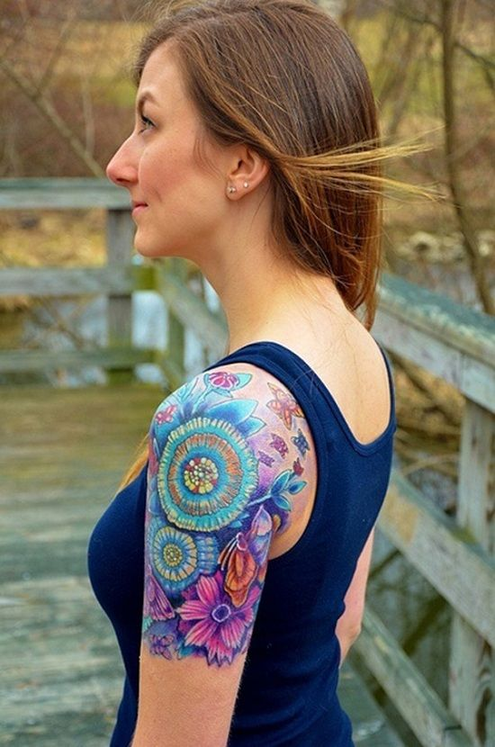 Colorful Lotus Flower Design for Quarter Sleeve Tattoo Ideas