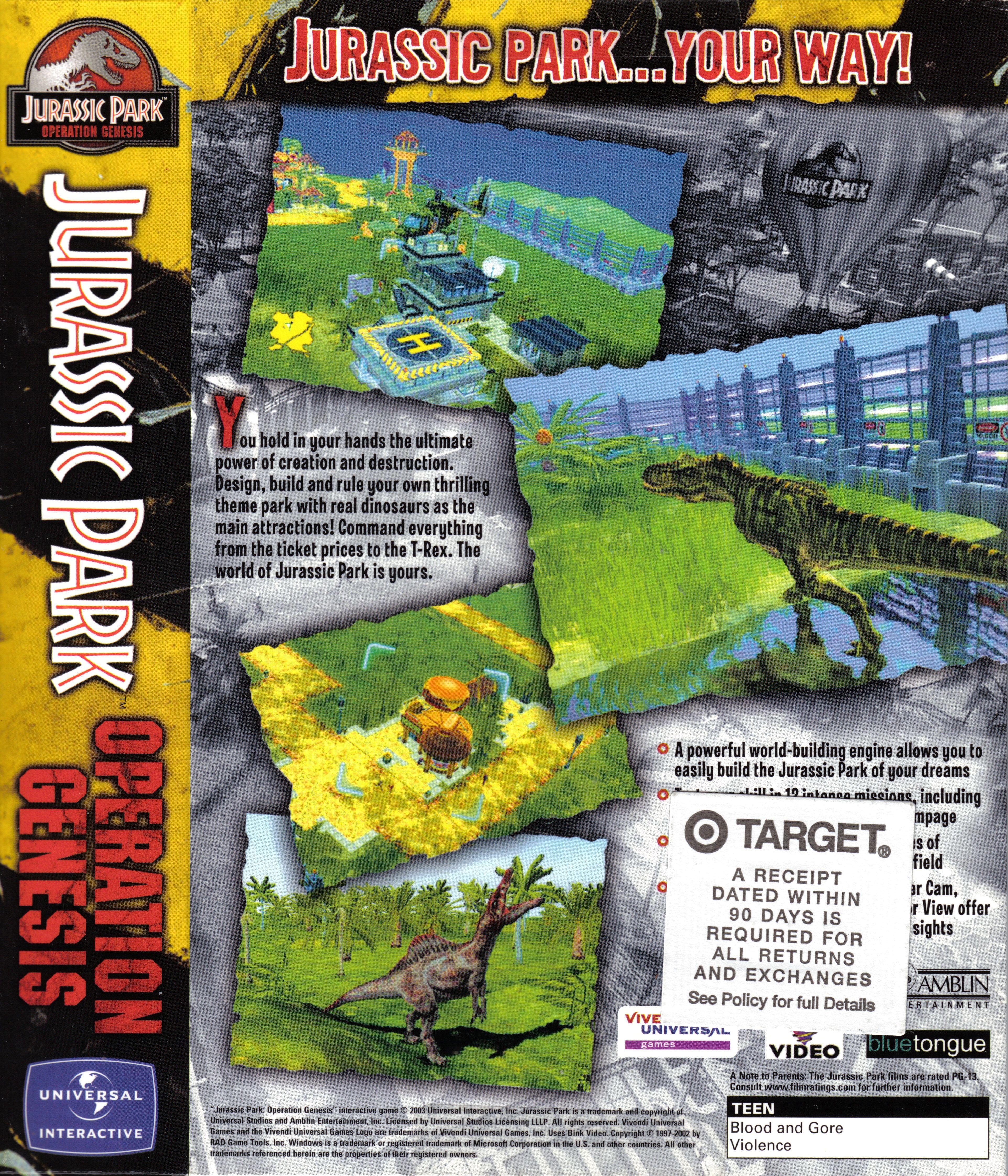 Jurassic ParkOperation Genesis back