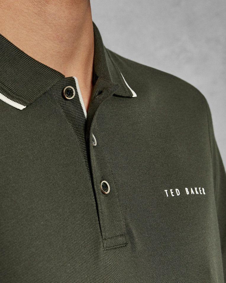 8a1da034c Pique polo shirt - Khaki | Tops and T-shirts | Ted Baker ROW | POLOS ...