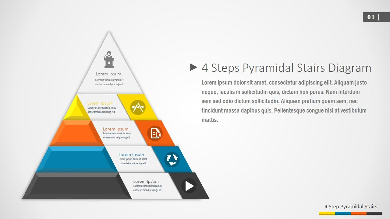 medium resolution of 4 steps pyramidal stairs powerpoint diagram created with professional material design techniques the 4