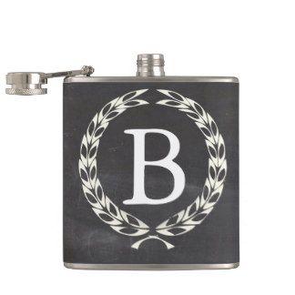 Monogram wreath chalkboard flask