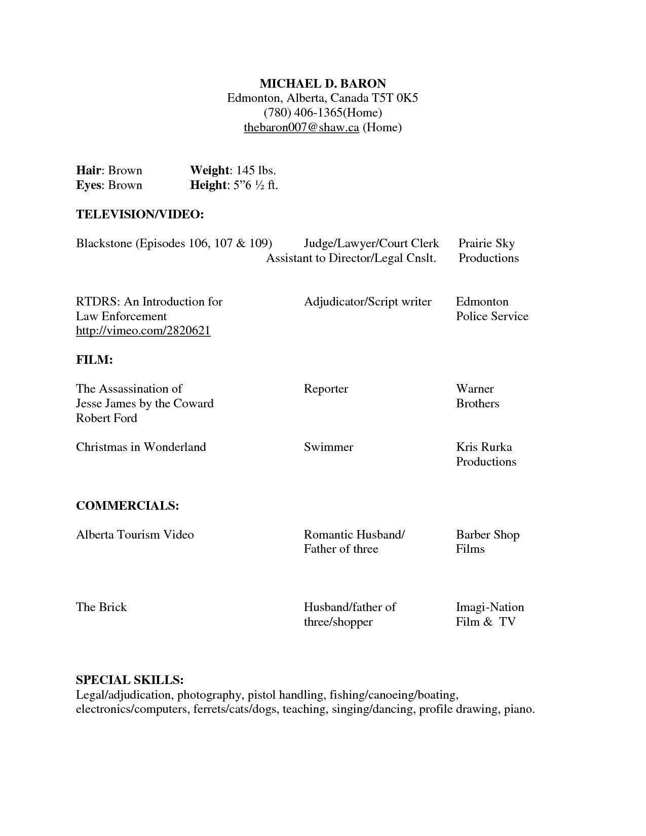 beginner acting resume sample are