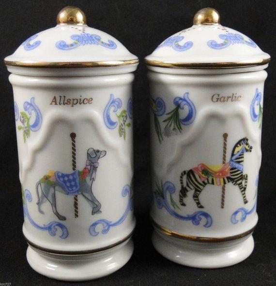 Vintage Lenox Carousel Spice Jars Allspice Garlic by KRCsCloset