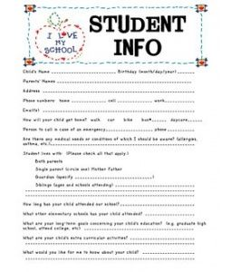 Student Information Sheet  First Day Of School    Back