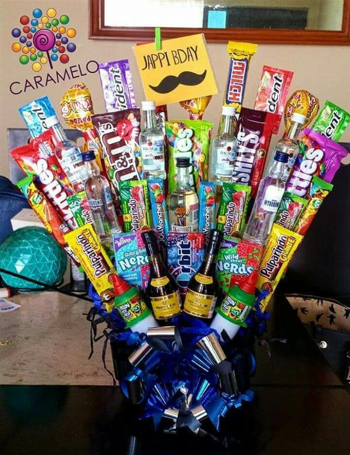Boyfriend present #candybasket #minibottle #cool #dulces # ...