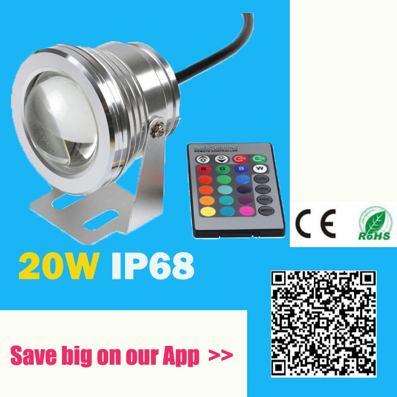 20w 12v Led Rgb Underwater Spot Light Waterproof Ip68 Fountain Pool Lamp 16 Colorful Change With Ir Remote Led Aquarium Lighting Fountain Lights Led Light Lamp