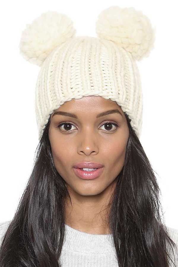 7a1af71985e Ivory Solid Color Thick Knit Top Balls Beanie Hat  Ivory  Hat  maykool