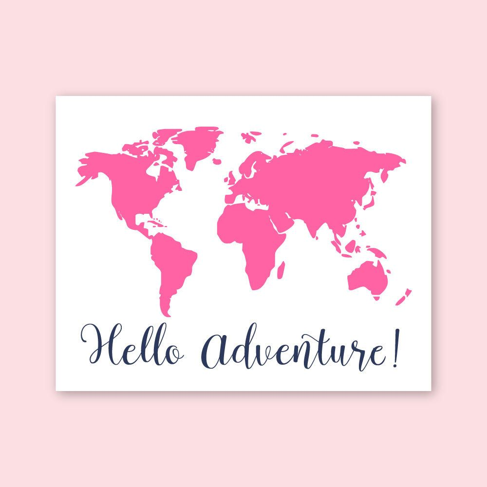Baby Nursery Art Pink Navy Modern S Decor Map Of The World