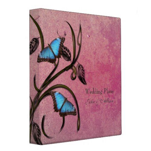 Magenta Butterfly Pair Wedding Organizer Binder
