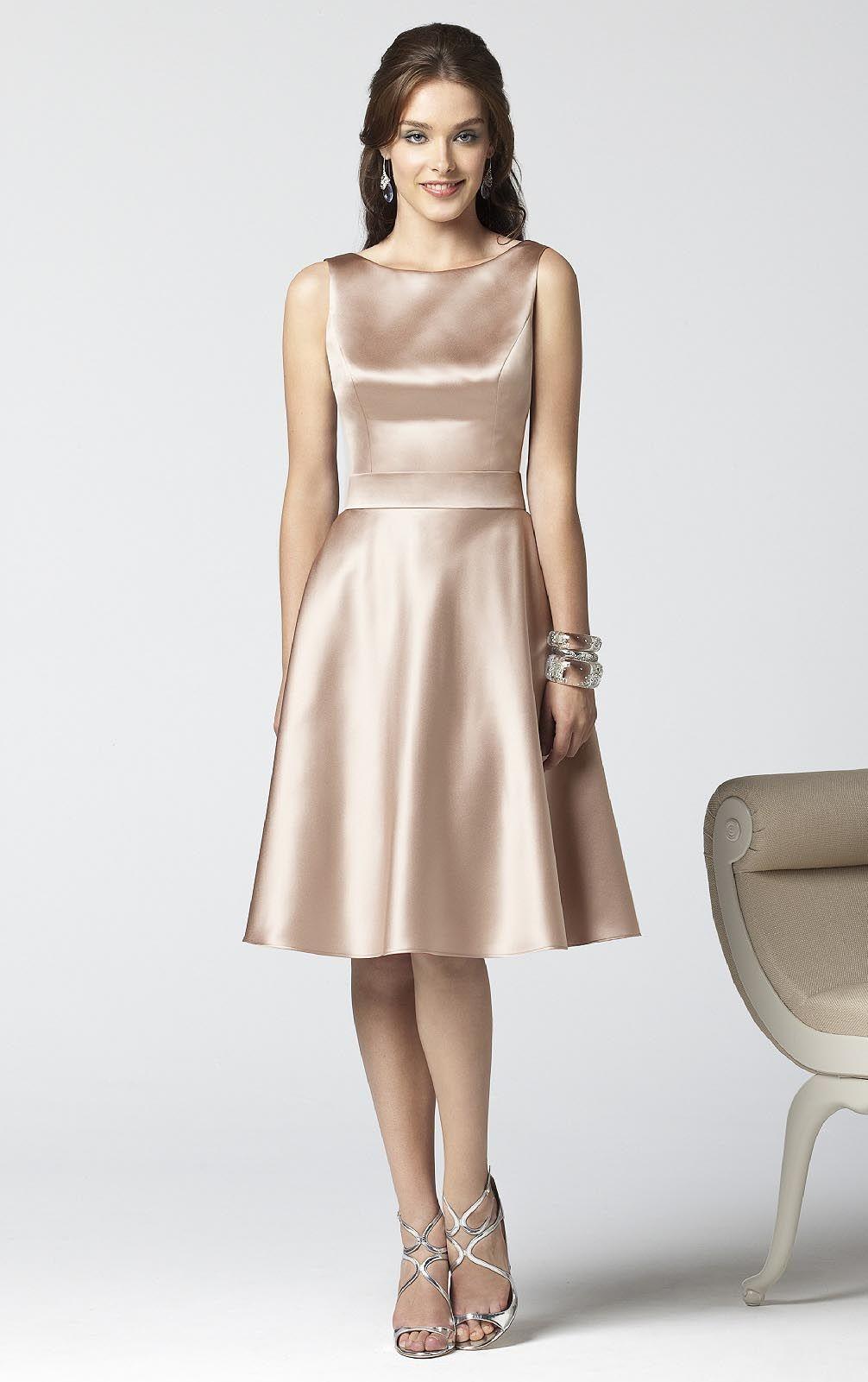 Kneelength jewel satin aline natural bridesmaid dresses