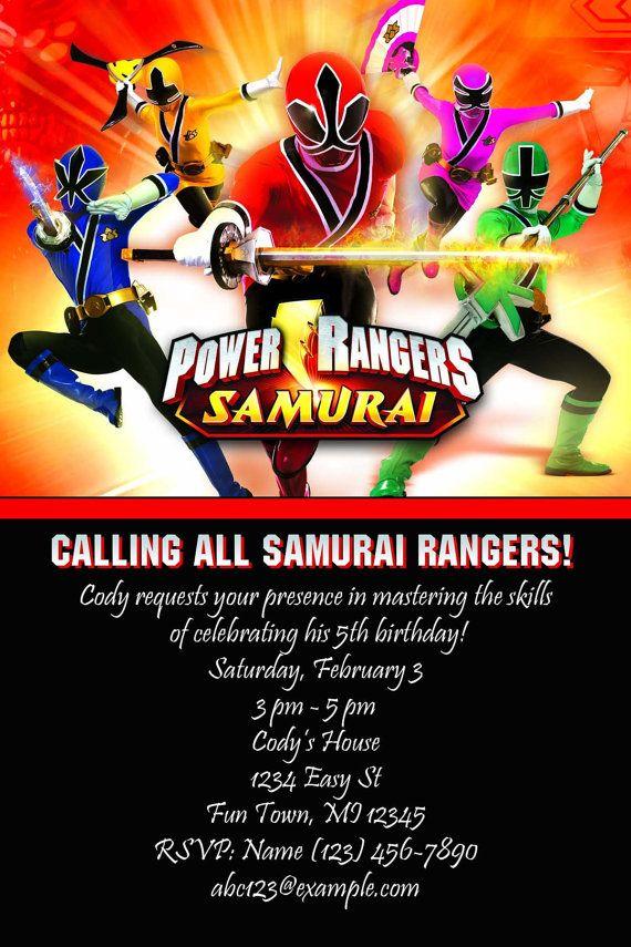 Power Rangers Samurai Birthday Invitation Andon S Party Ideas