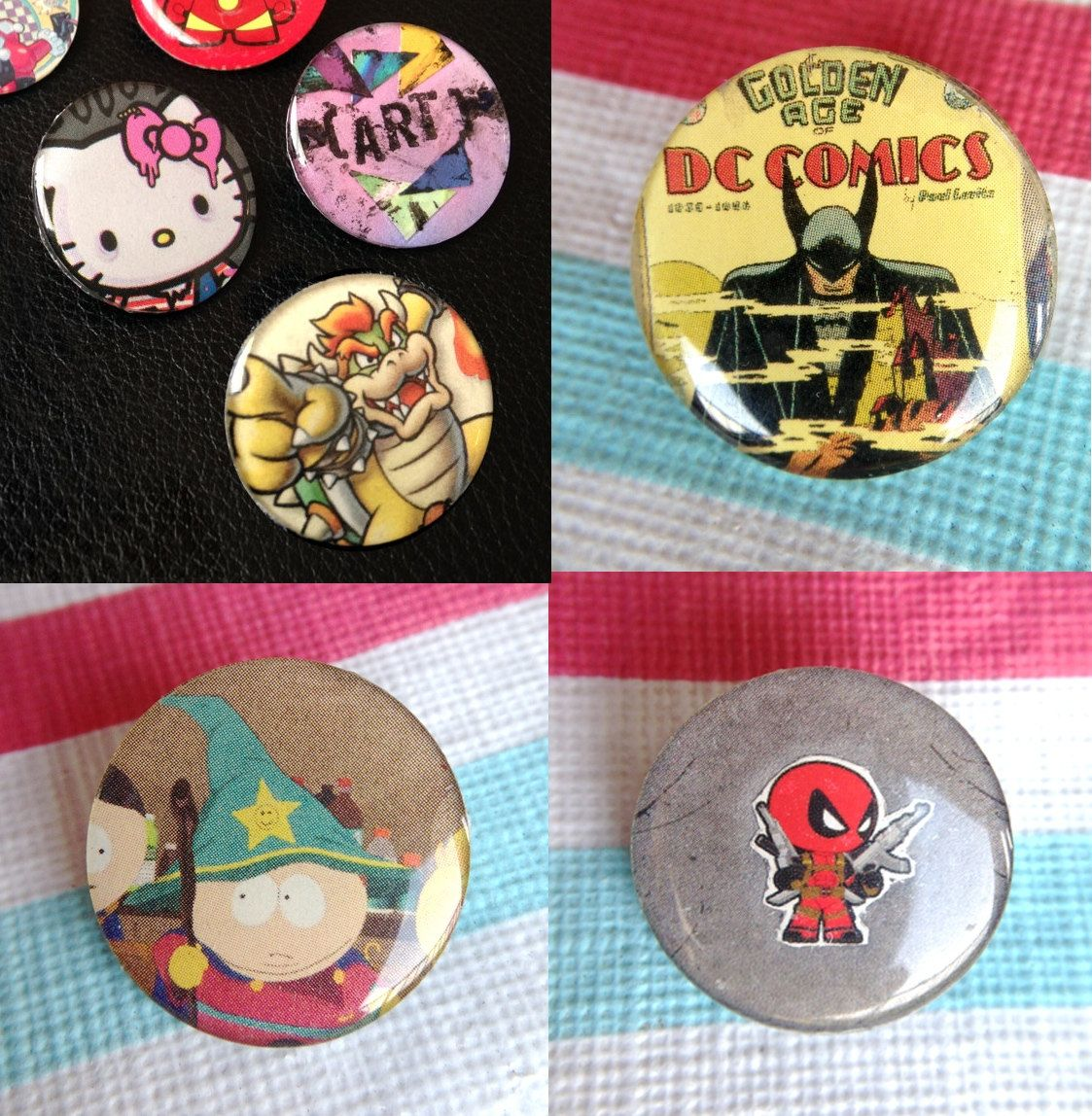 Pop Pins! - Pop Culture Geek Nerd Button Pins - Upcycled Paper & Toy Box Art - Geekery by jdsART on Etsy