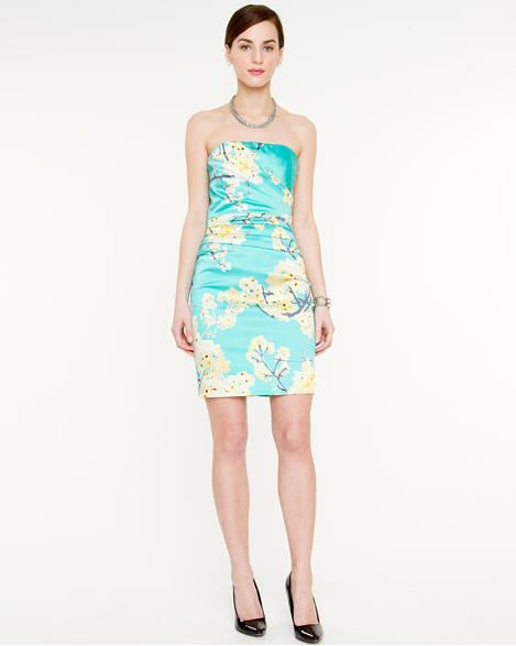 1028dd9755 turquoise and yellow floral print satin strapless dress
