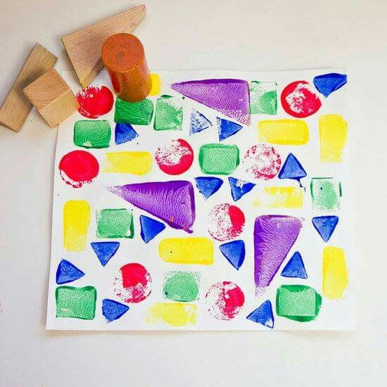 For Toddlers Make Wooden Block Prints Blocks Arent Just Building Use Them To Create Colorful Geometric Artwork With This Fun Craft Idea