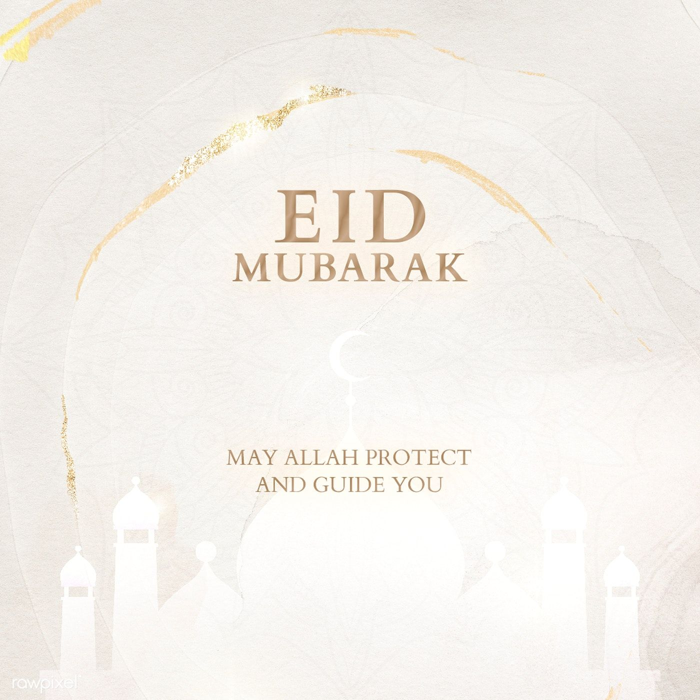 Festive Eid Mubarak Greeting Card Template Free Image By