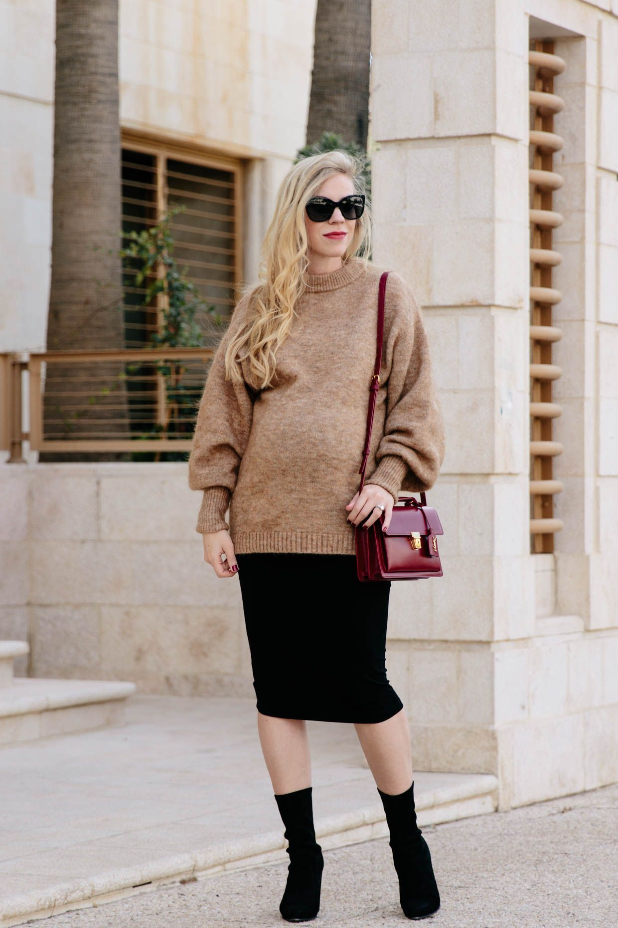 a69677cd5 Slouchy Camel Sweater with Maternity Pencil Skirt & Sock Boots, oversized  sweater with pencil skirt and sock boots outfit, fall maternity style
