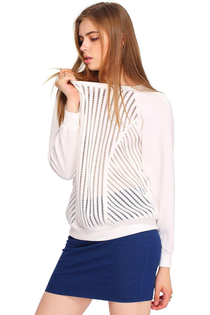 ROMWE Hollow Strip Sweatshirt