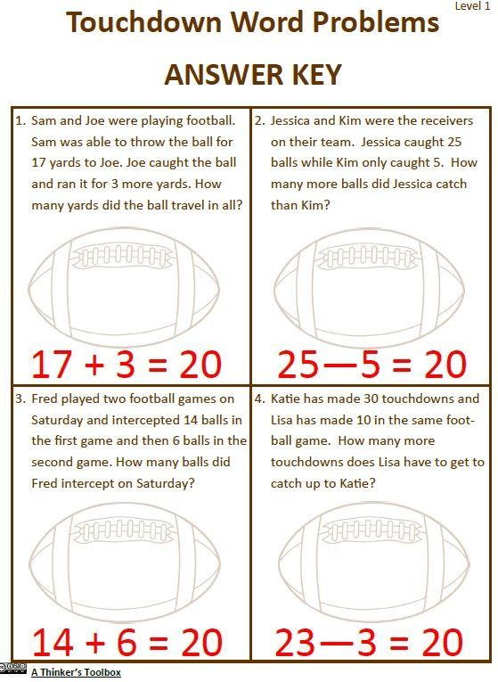 Super Football Math Includes 18 Football Themed Math Worksheets That Are Great For Your 1st And 2nd Graders Just In Time Fo Math Math Worksheets Word Problems