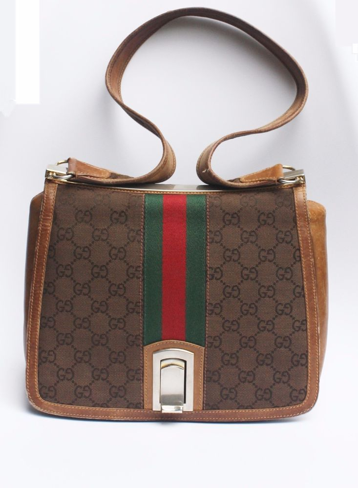 Vintage Gucci Handbag Signature Logo Print Red Green Stripe Small Purse Bag Shoulderbag