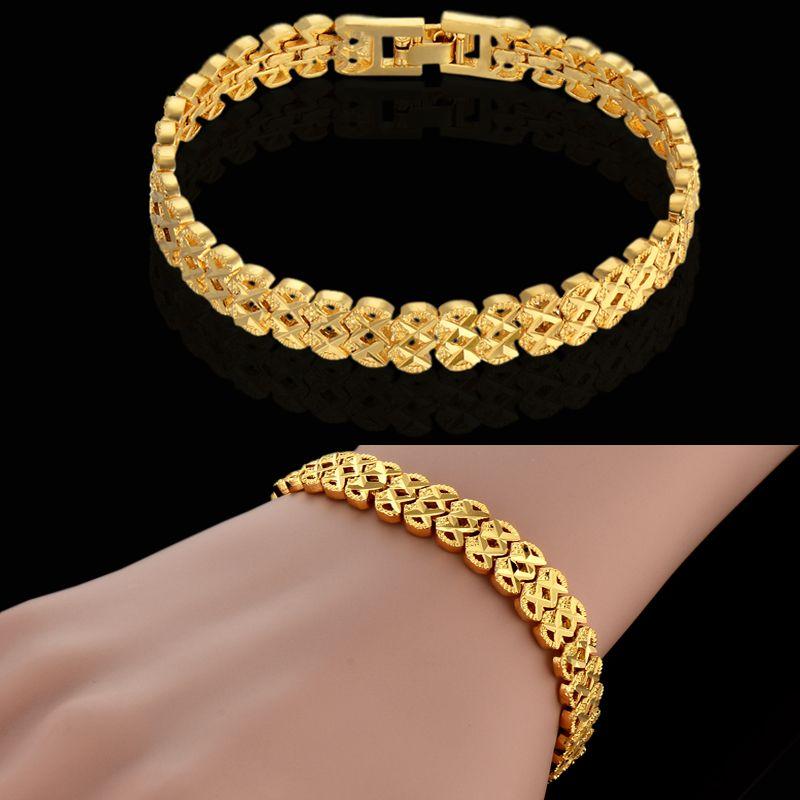 Aliexpress Luxury Gold Plated Chain Link Bracelet For Women Men ...