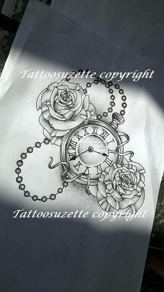 b77ba0aef clock tattoo design/ tatouage horloge by tattoosuzette on DeviantArt ...