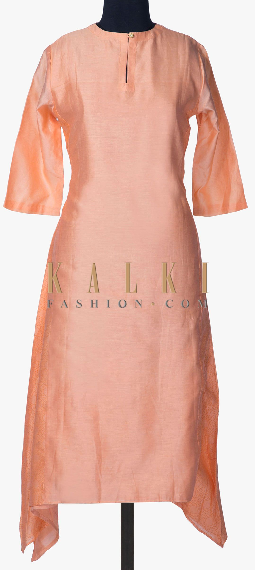 Peach kurti in cotton silk with self printed side kali only on kalki