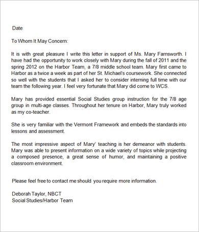 Sample Letter Of Recommendation For Teacher - 18+ Documents In