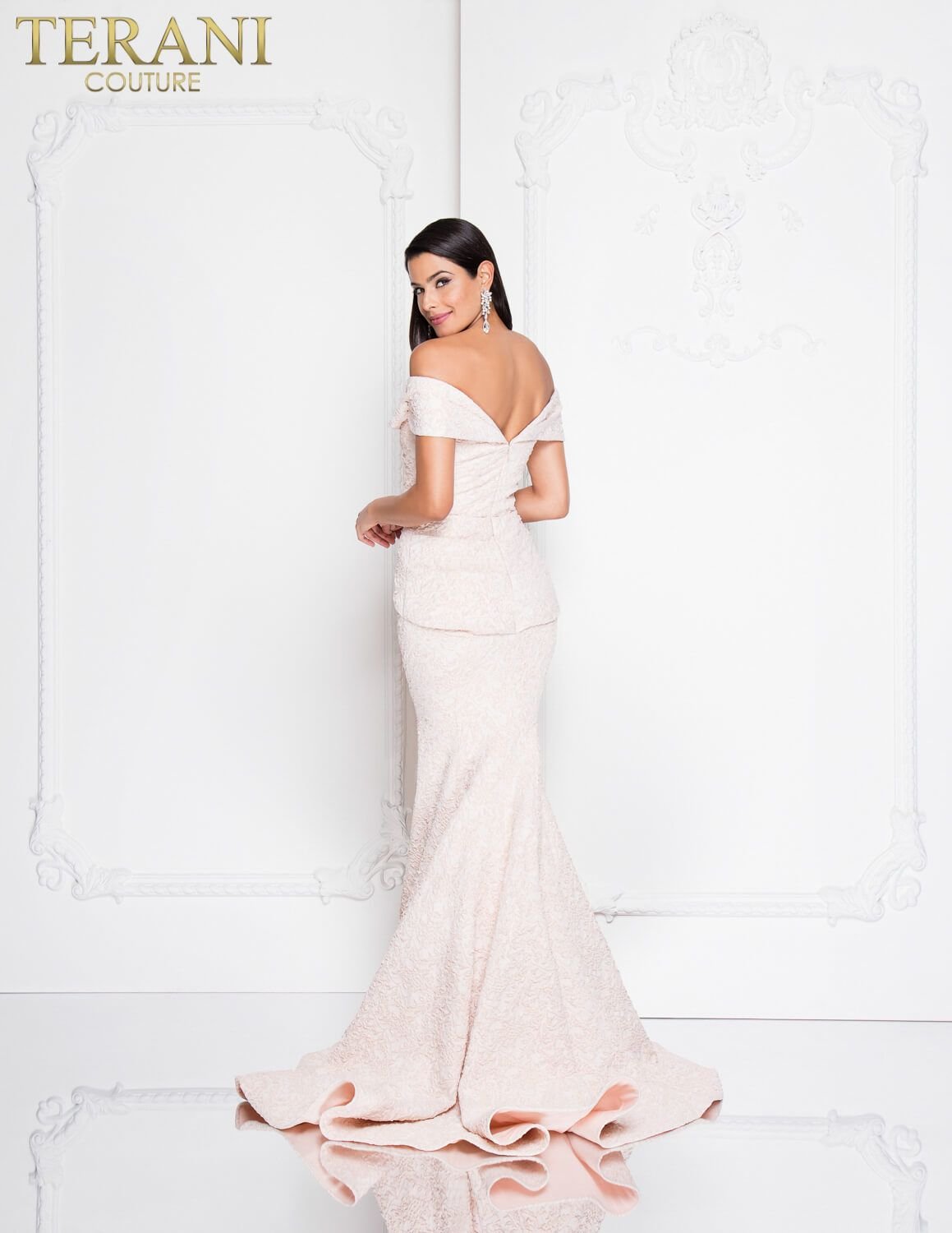 Elegant off the shoulder evening gown in tonal brocade with rose