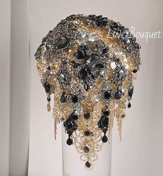 Black Brooch Bouquet Cascading Black and Gold Silver Wedding