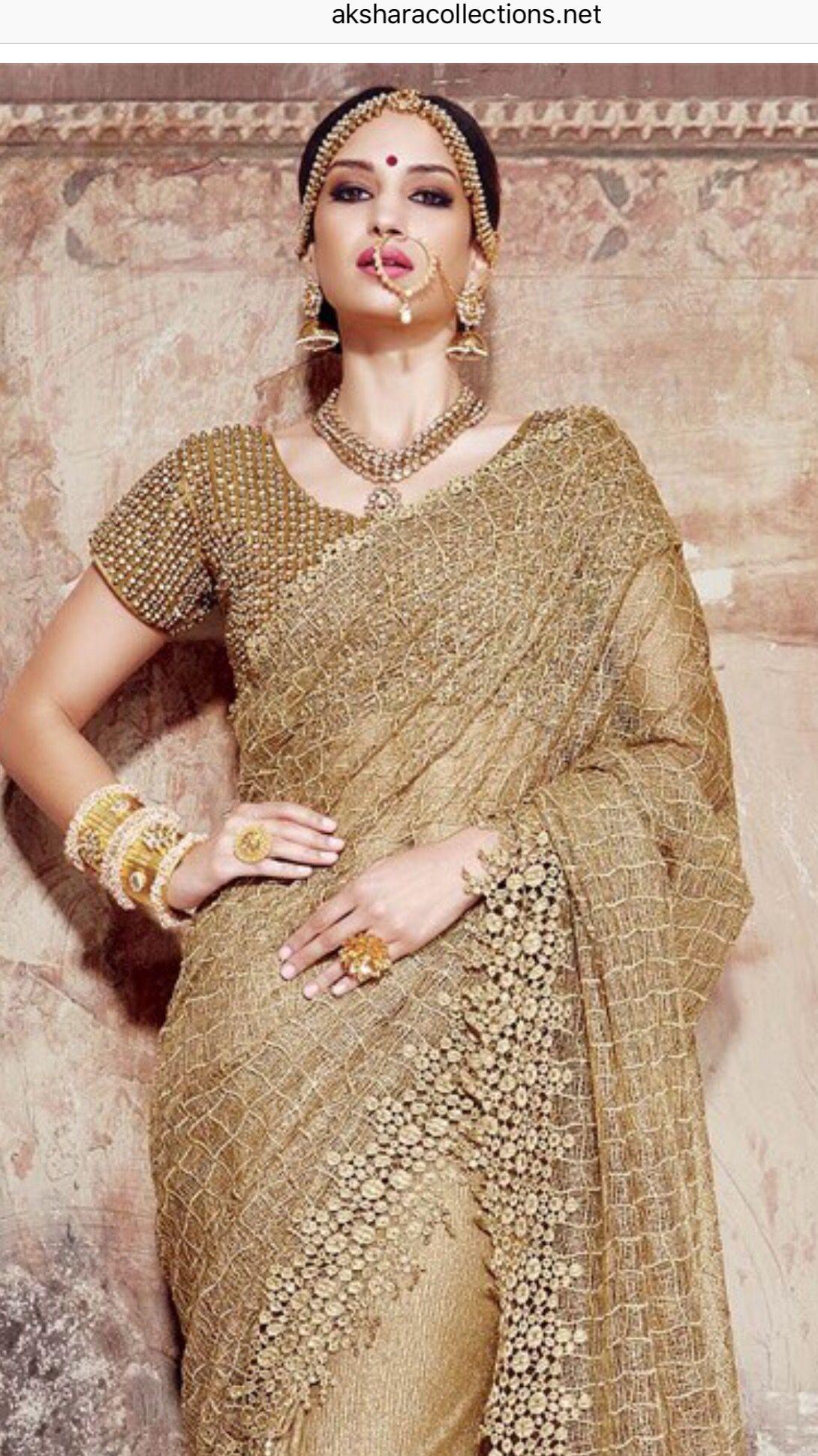 Golden Net Saree Indian Wedding Reception Outfits Saree Trends