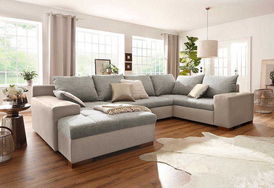 Home affaire Wohnlandschaft »Manitoba«, wahlweise mit Bettfunktion - wohnzimmer rot grau beige