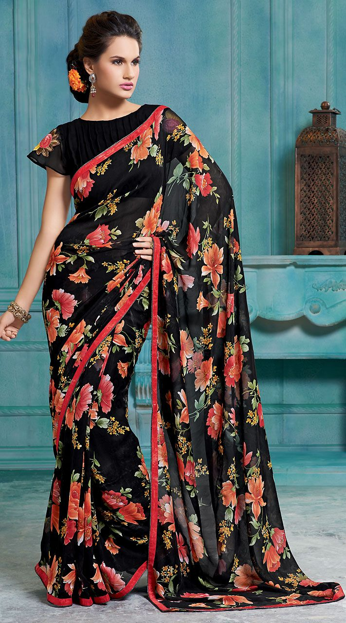 ac8cf6f3bd69a5 Black Digital Printed Georgette Saree | Designer sarees | Georgette ...