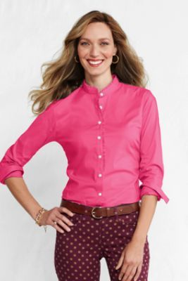 88811f6ebd8 Women s Long Sleeve Ruffle Banded Collar Shirt from Lands  End ...