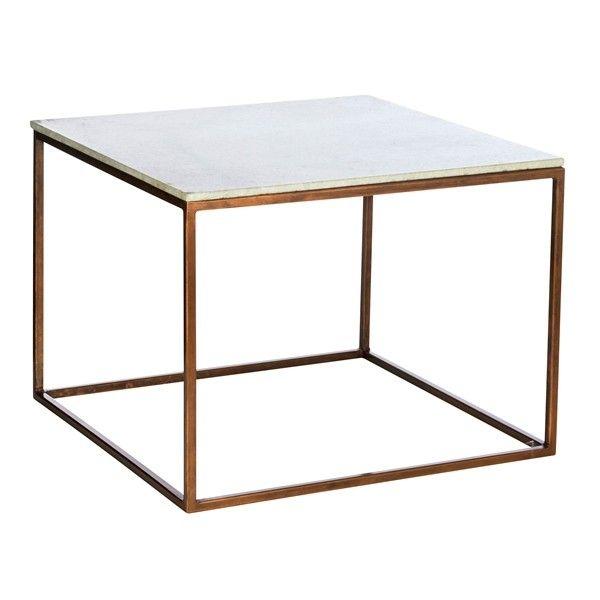 Marmortisch weiß-kupfer bei fabrikschick.de - white marble coffee table base copper finish
