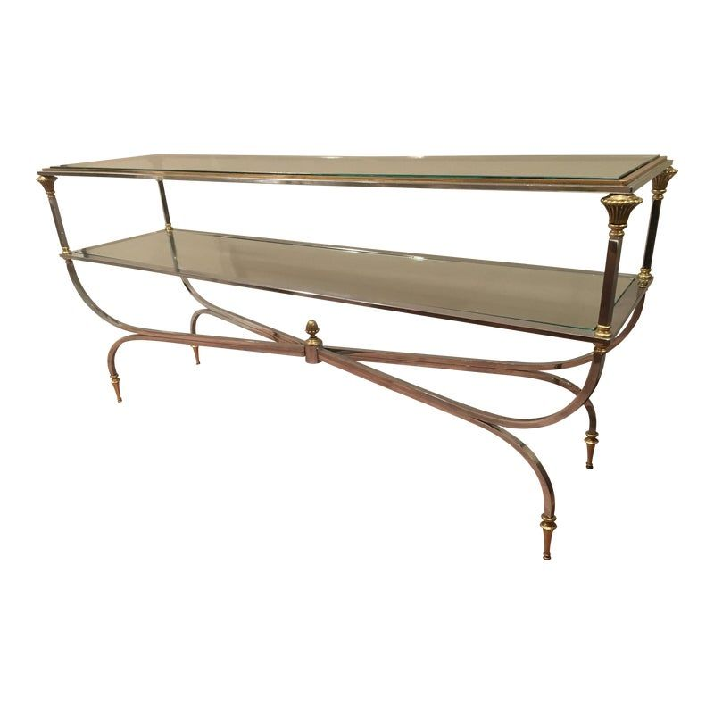 1980s Hollywood Regency Gold And Polished Metal Console Table