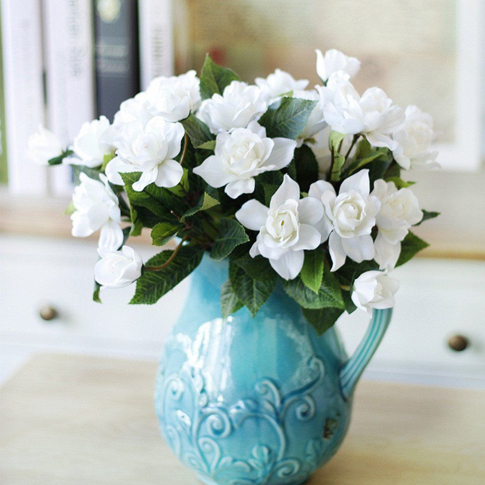 Lopkey Upscale Decor Silk Artificial Gardenia Flower,White ** Read