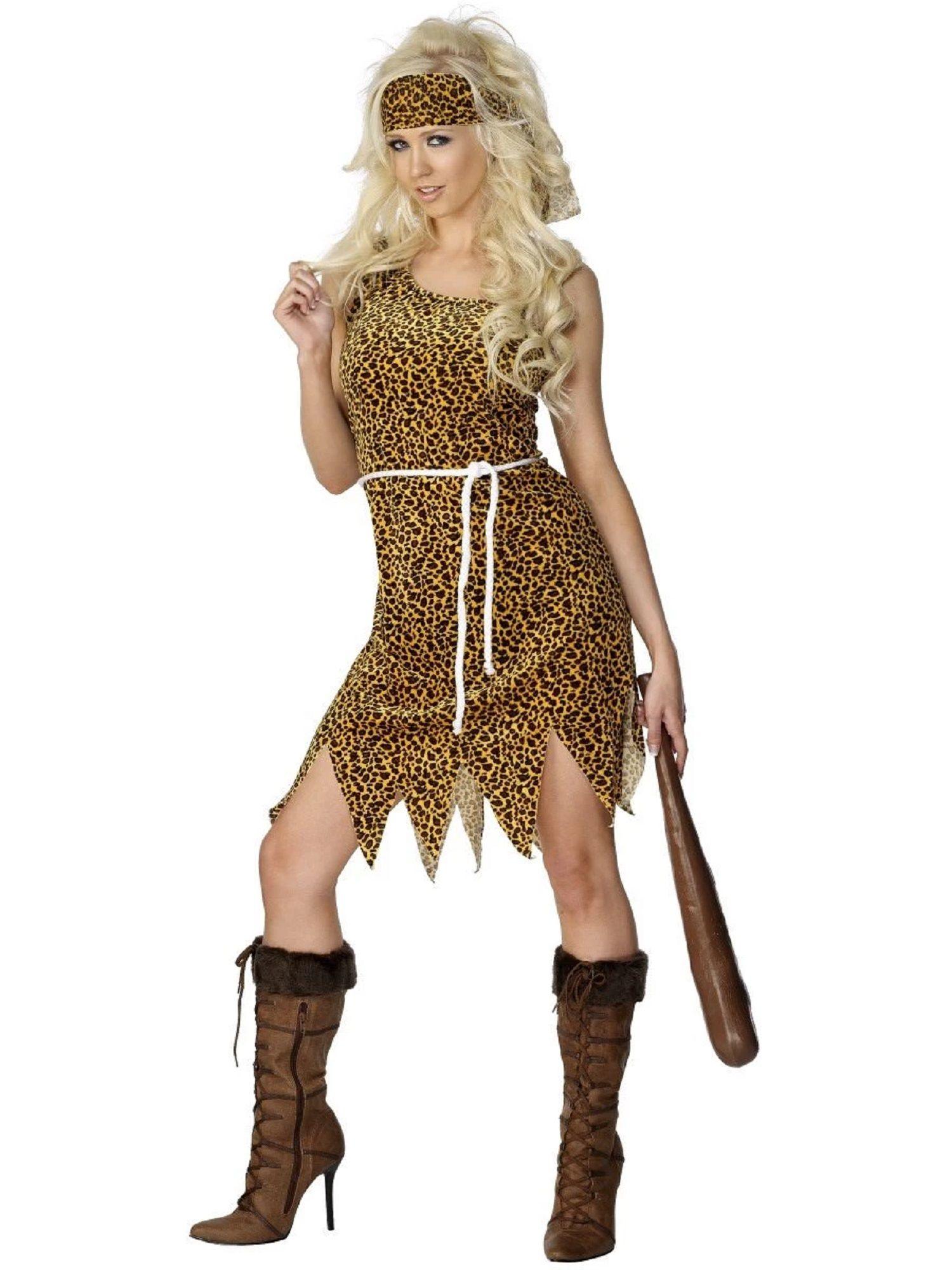 Fancy Dress Outfit Girl Ladies Flintstones Womens Adult Cave Woman Costume