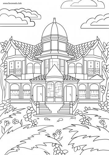 Victorian House Printable Adult Coloring Page