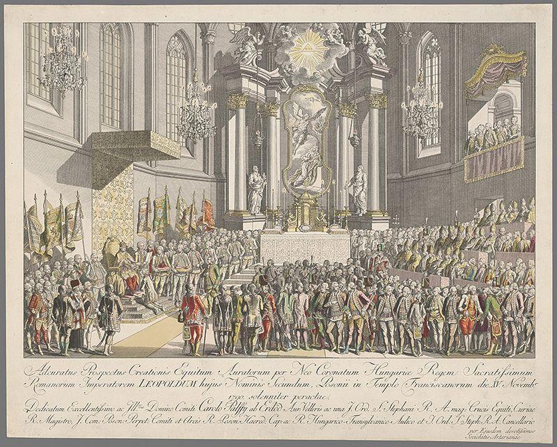 Johann Ernst Mansfeld - Leopold II. pasuje za zlatoostrých rytierov