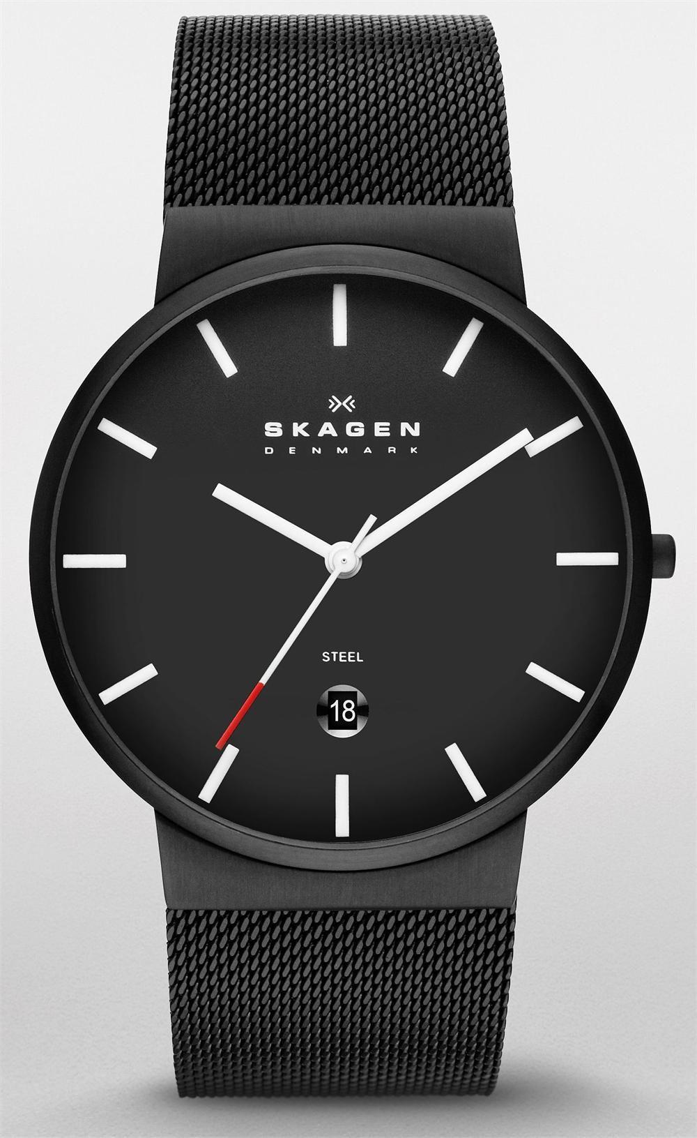 5002686afde6 Skagen SKW6053 Ancher Three-Hand Black Steel Mesh Watch ...