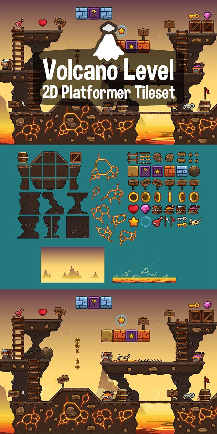 Volcano Level 2D Platformer Tileset - CraftPix net